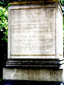 Memorial to Protestant martyrs in Bury St. Edmunds
